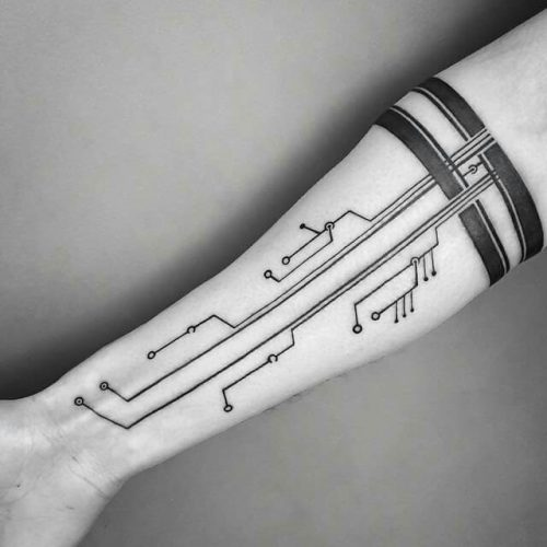 Circuit Tattoo Back Hand